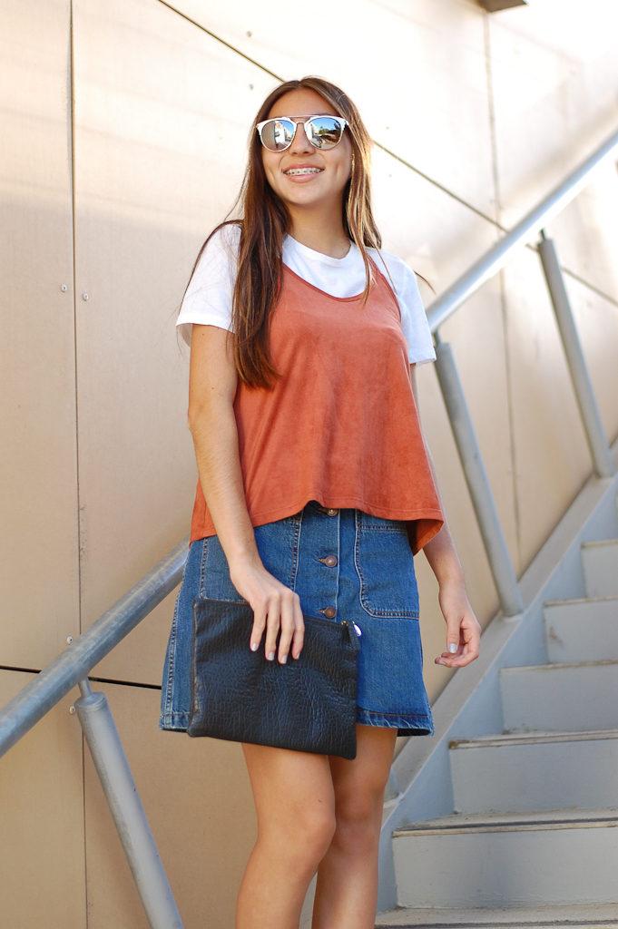 red tank white shirt skirt