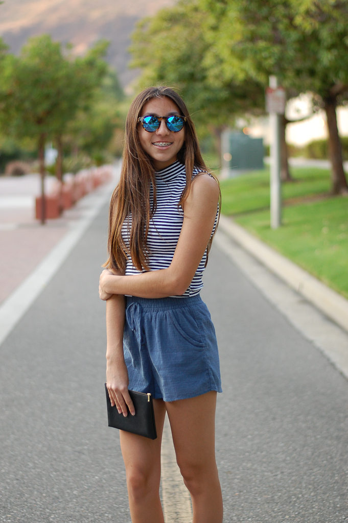 Striped crop top blue shorts front