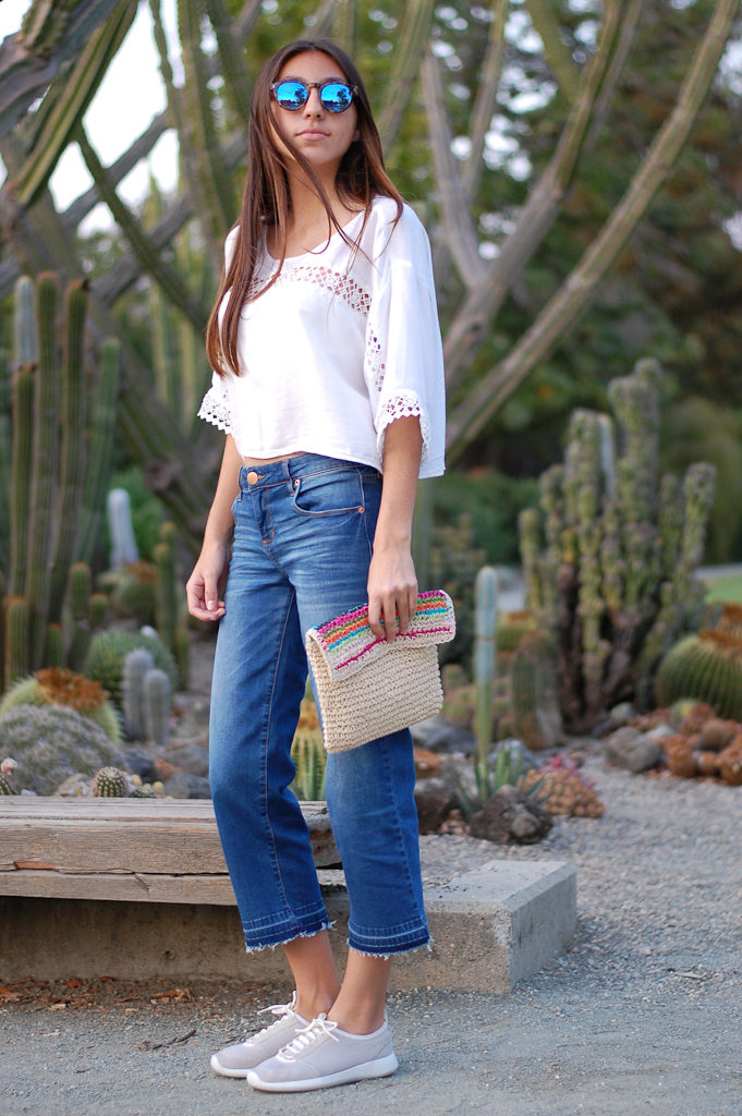 White crop top cropped jeans side