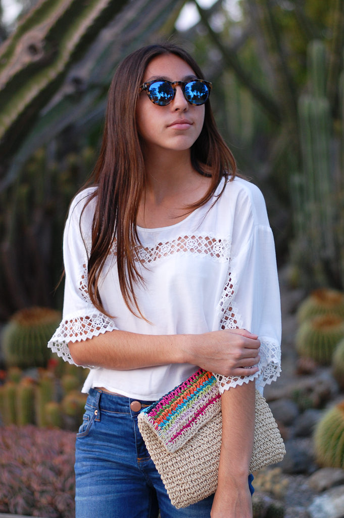 White crop top cropped jeans top