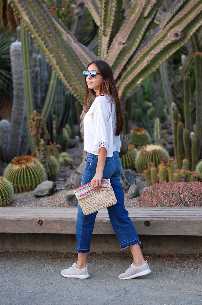 White crop top cropped jeans walk