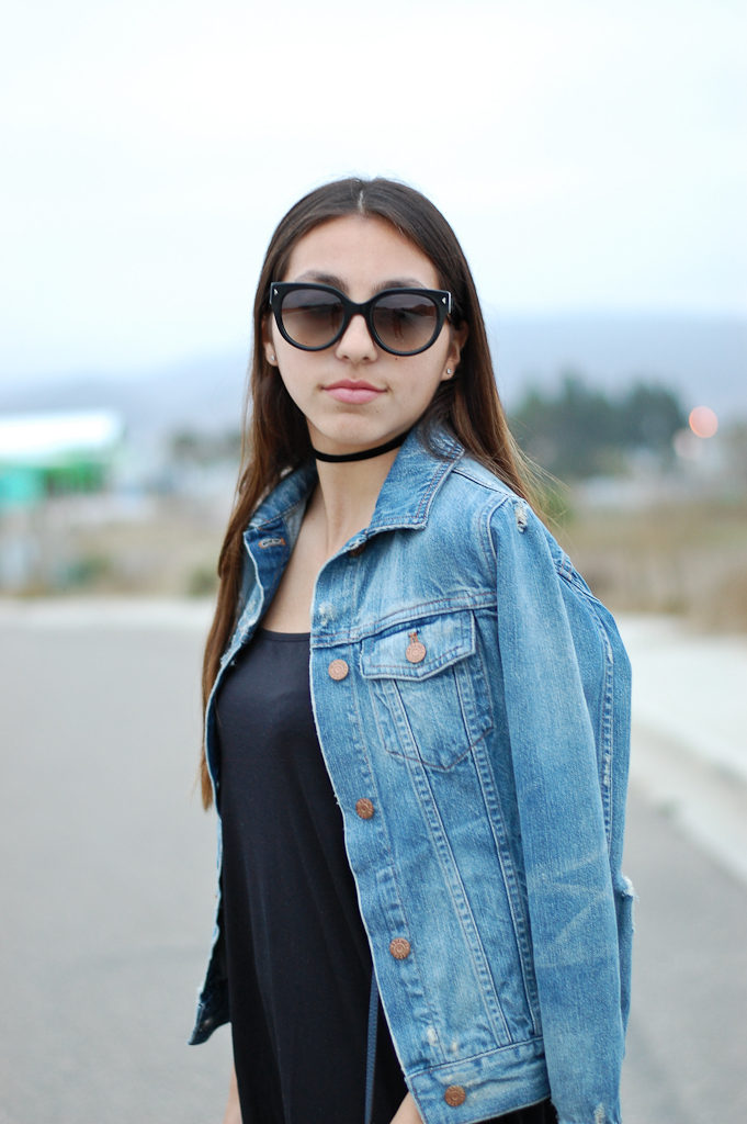 black dress denim jacket