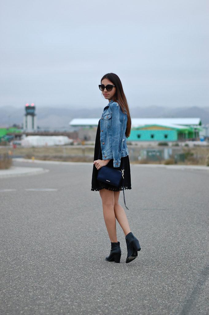 black dress denim jacket back