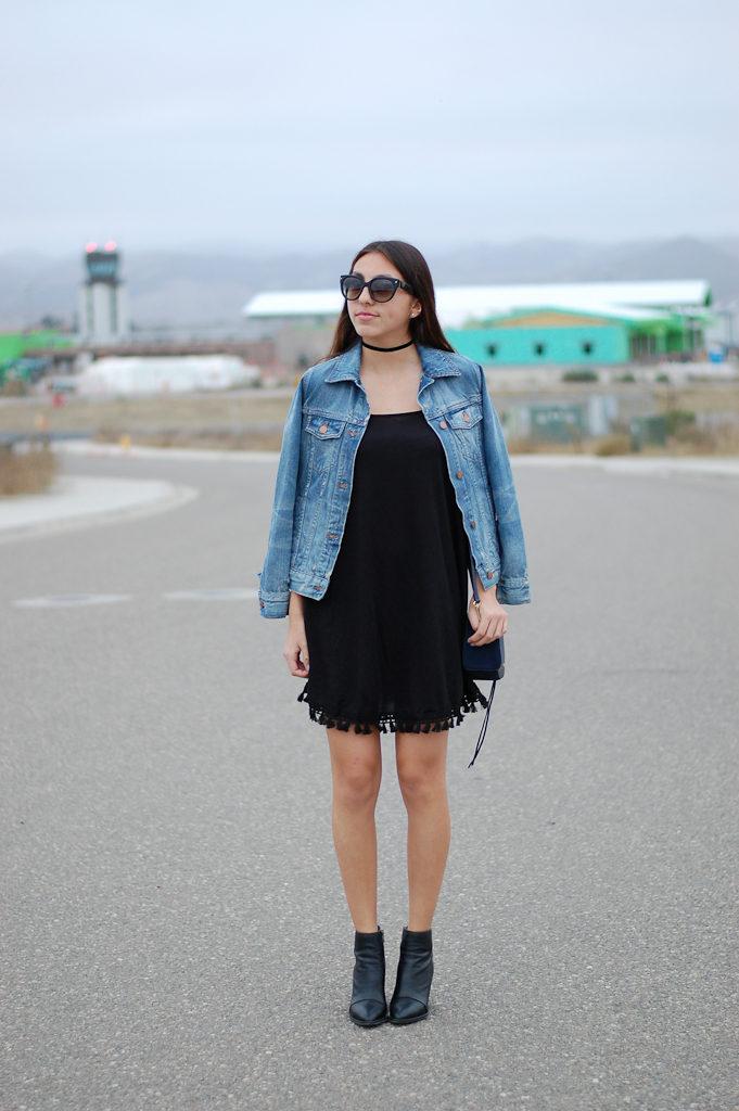 black dress denim jacket front