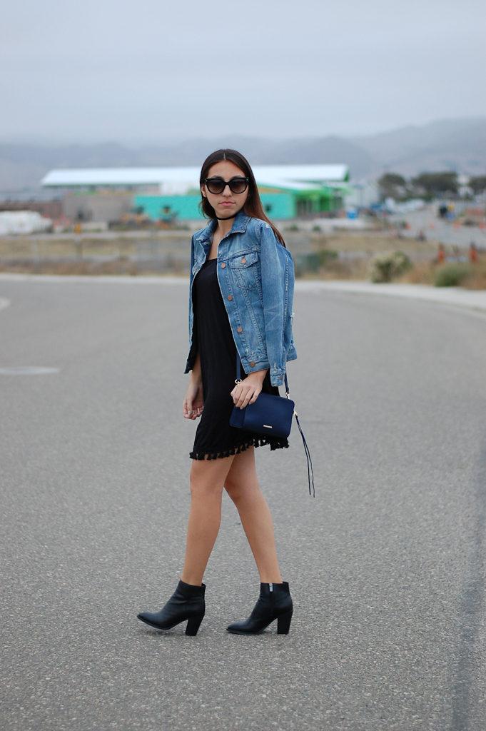 black dress denim jacket side