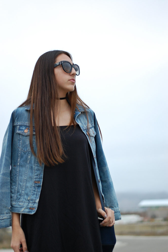 black dress denim jacket top