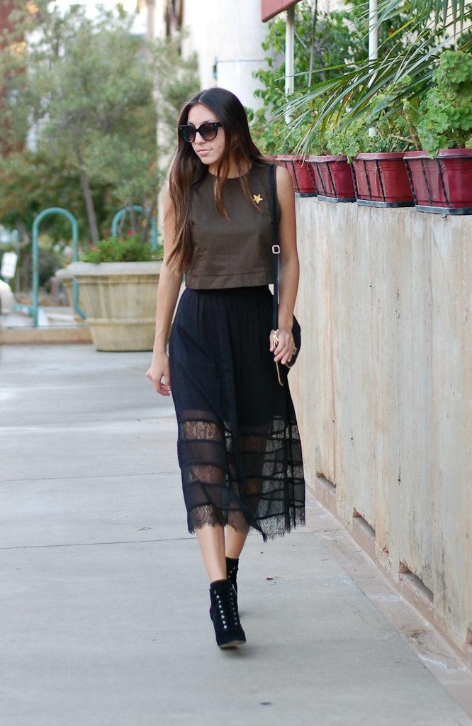 green top black skirt front