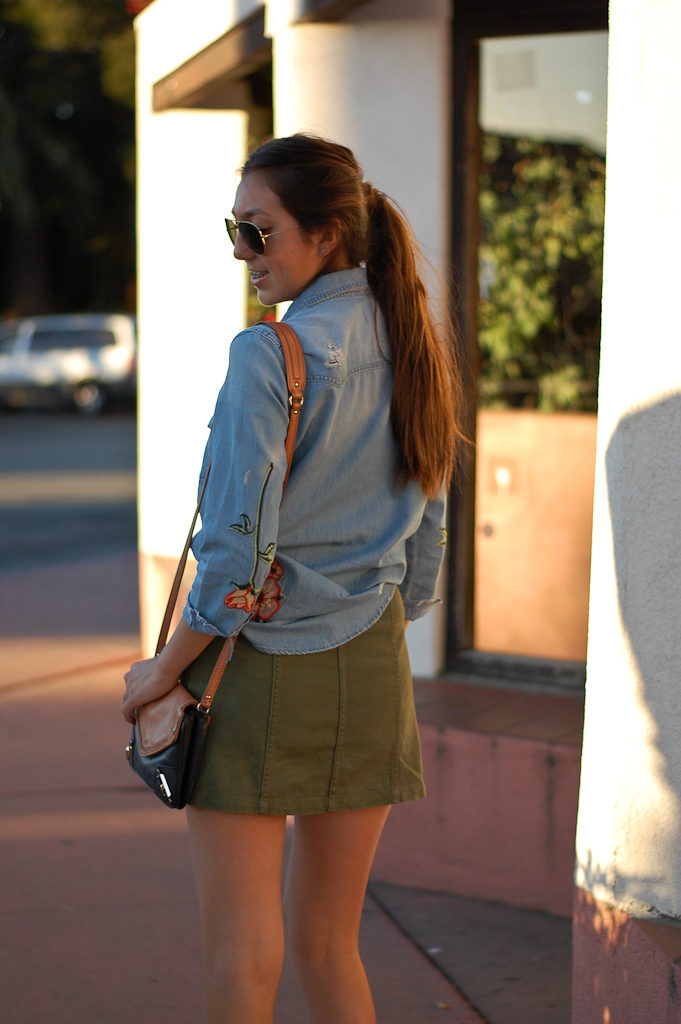 patch button down skirt back