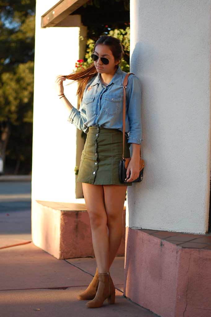 patch button down skirt hair
