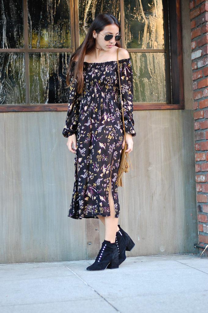 uo off the shoulder dress walk