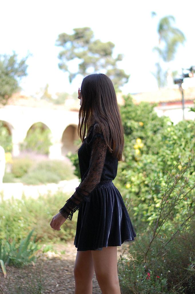 velvet skirt zara top back