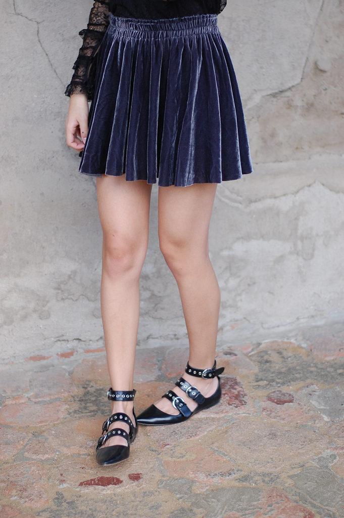velvet skirt zara top bottom