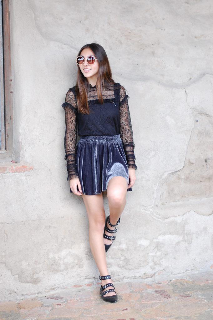 velvet skirt zara top leg up