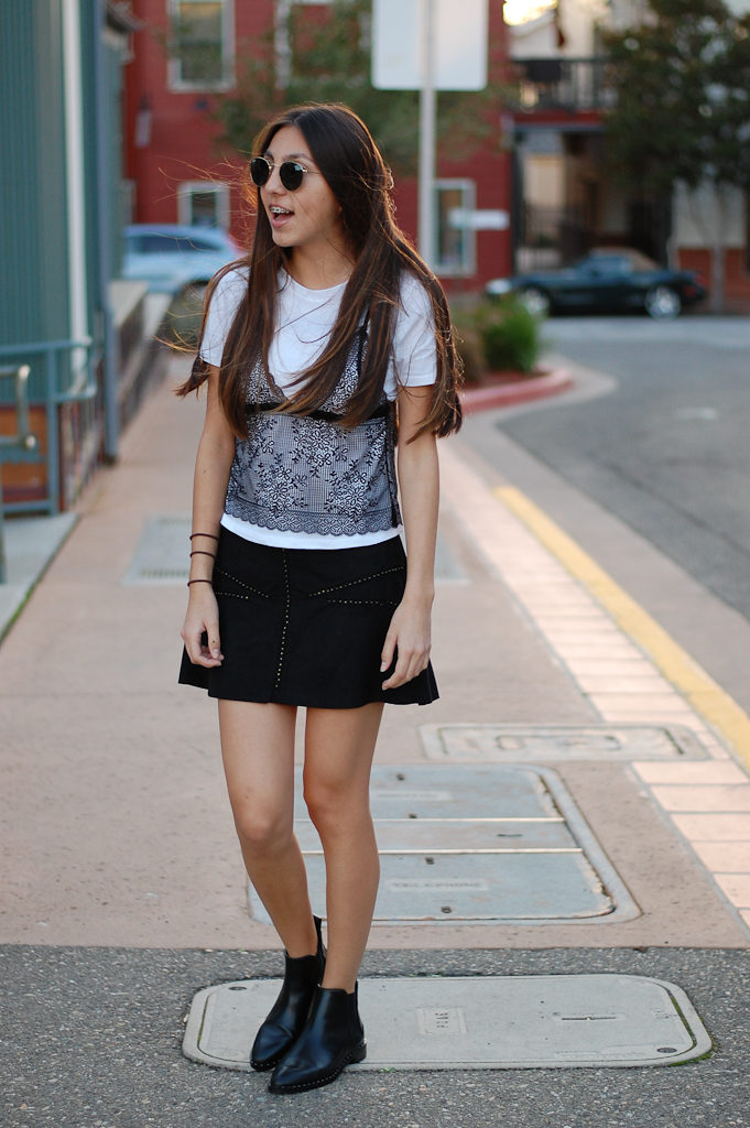 zara shirt and skirt front