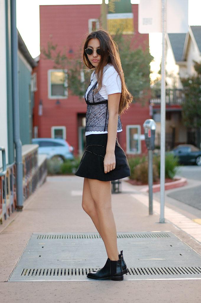 zara shirt and skirt side