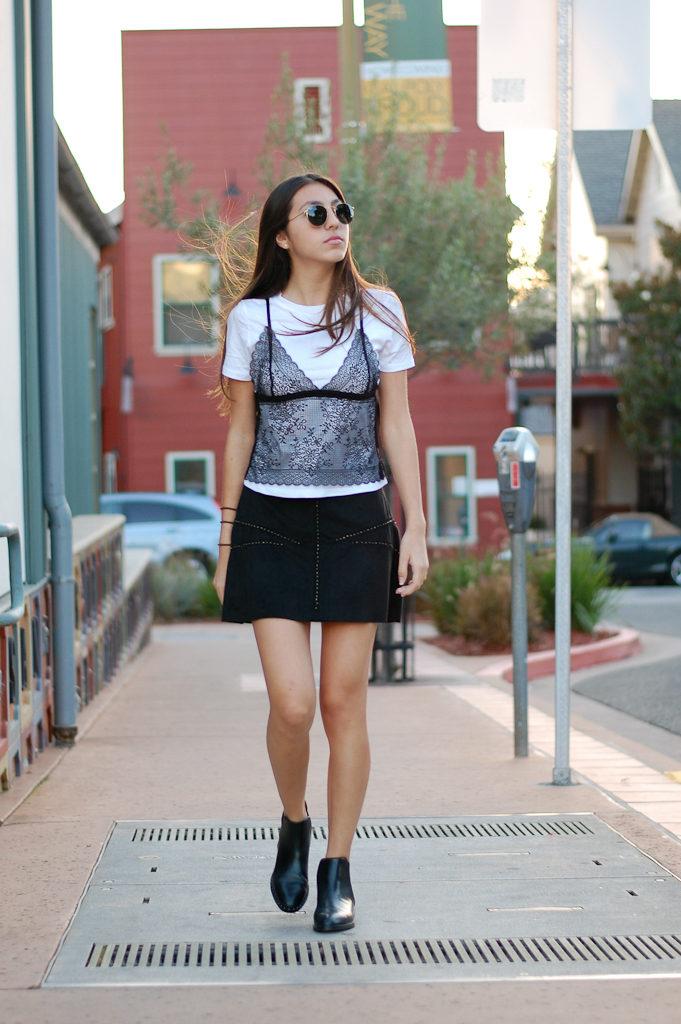 zara shirt and skirt walk