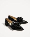 Zara black flats with bow