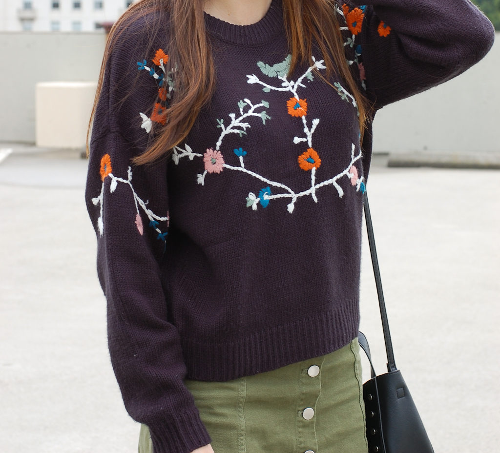 Floral sweater Green skirt