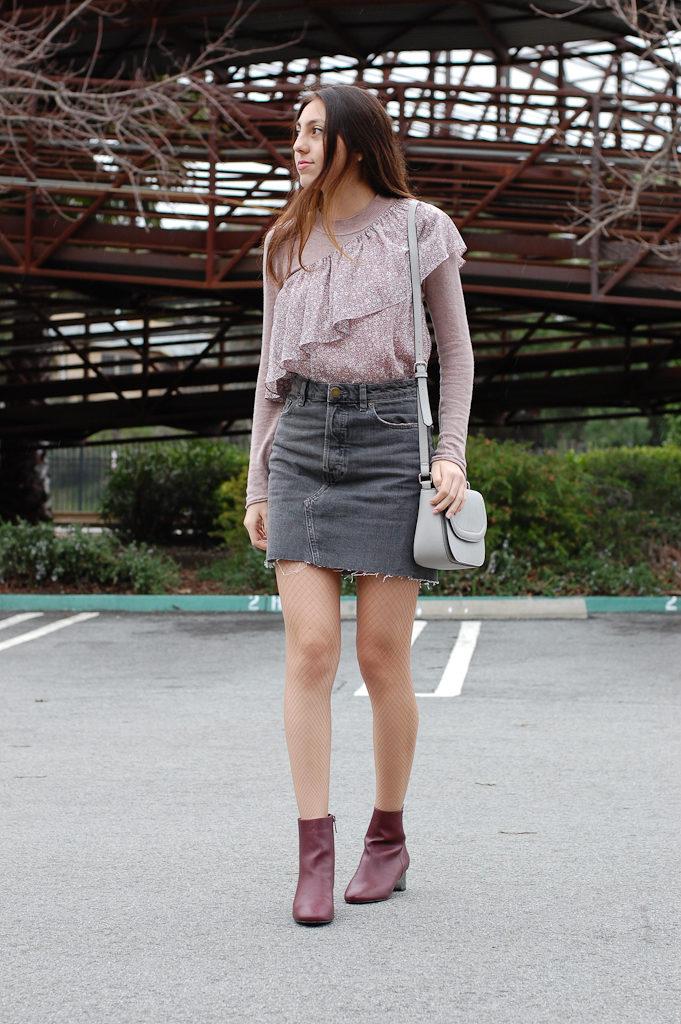 One shoulder floral Gray skirt front