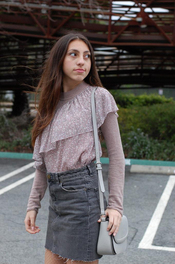 One shoulder floral Gray skirt look back