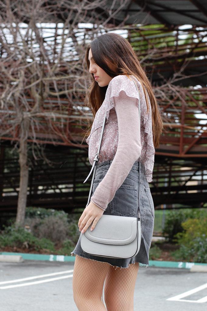 One shoulder floral Gray skirt side