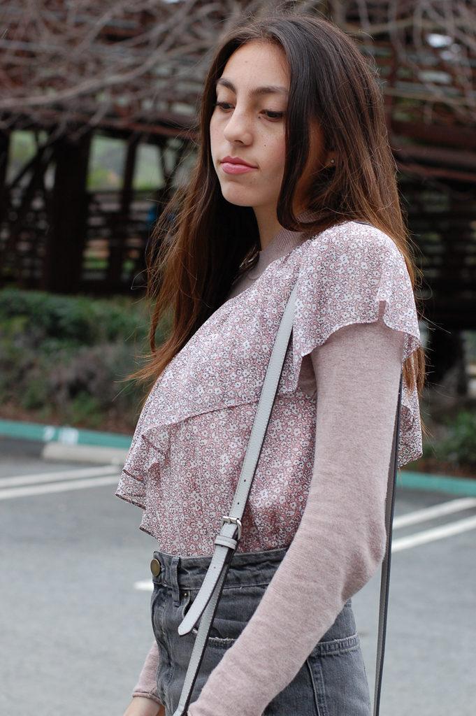 One shoulder floral Gray skirt top side