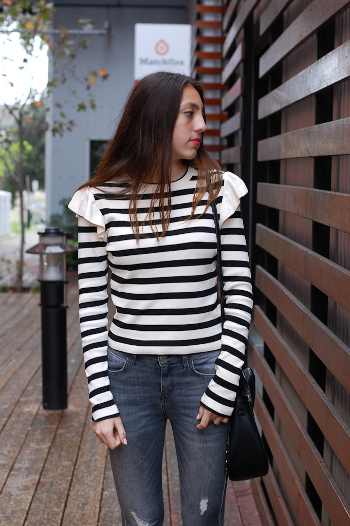 Striped shirt Gray distressed jeans top