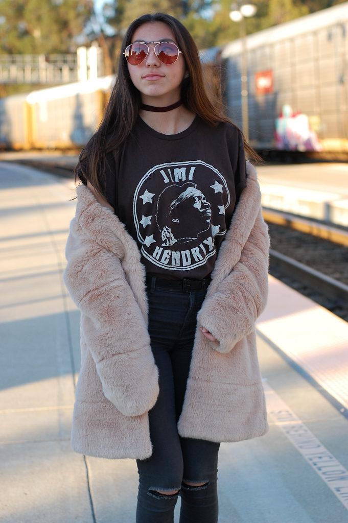 Jimi Hendrix tee Furry coat