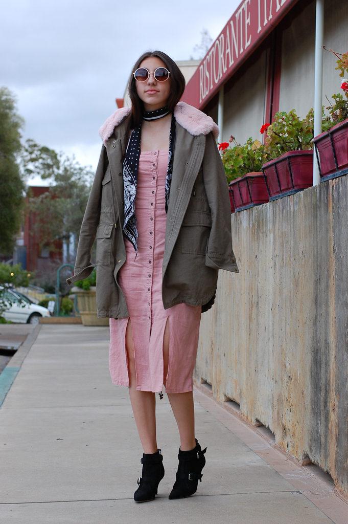 Pink strapless dress Jacket front
