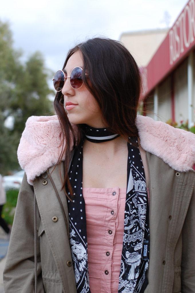 Pink strapless dress jacket side