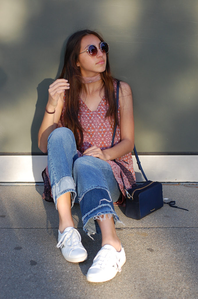 Layered dress over Jeans