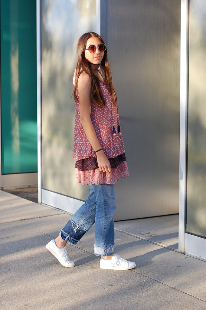 Layered dress over Jeans full