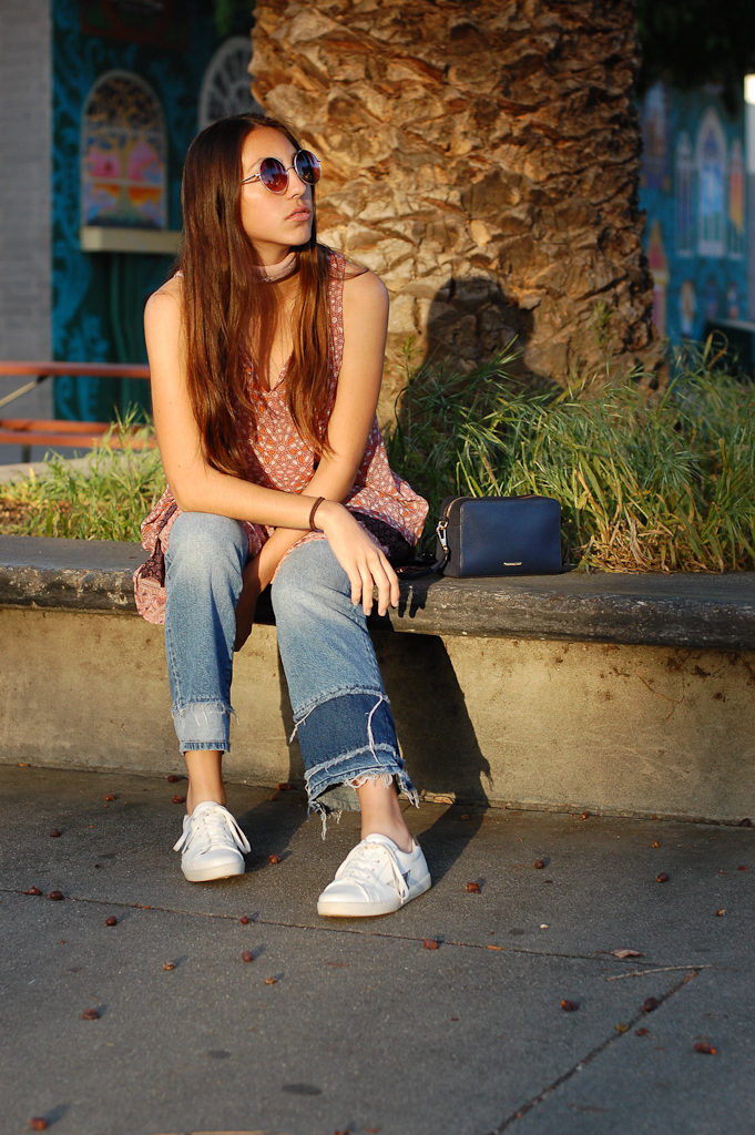Layered dress over Jeans sitting