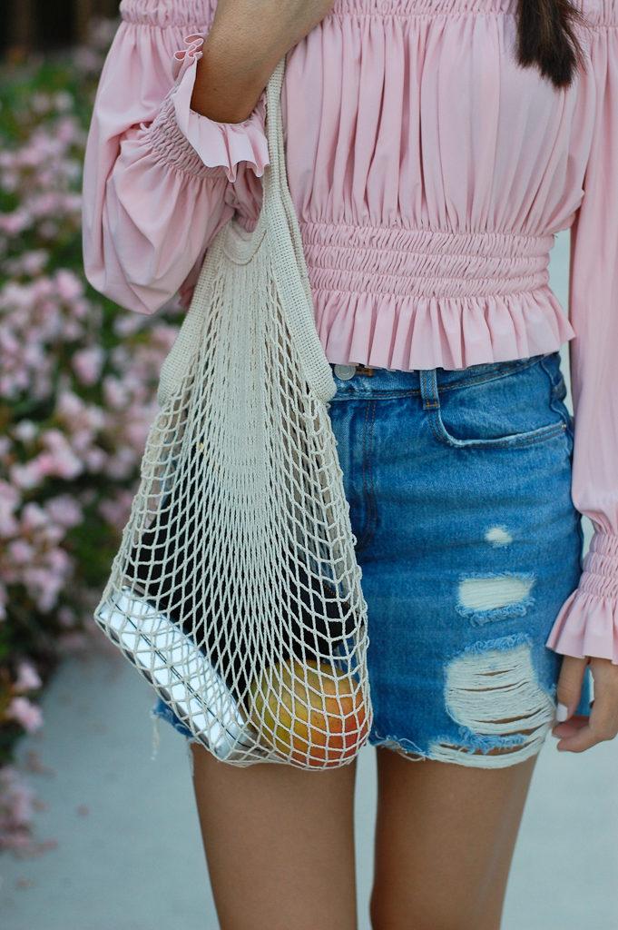 Pink off the shoulder top Denim skirt