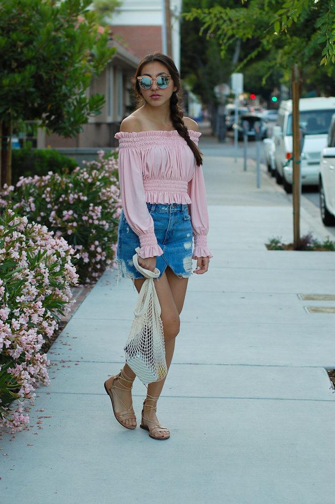 Pink off the shoulder top Denim skirt full