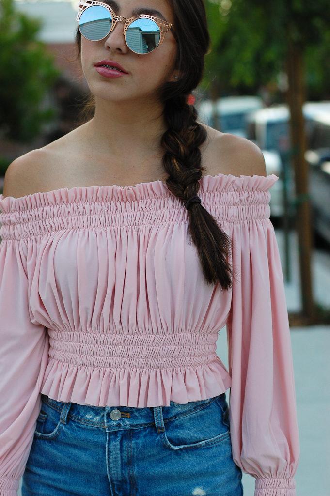Pink off the shoulder top Denim skirt top cropped