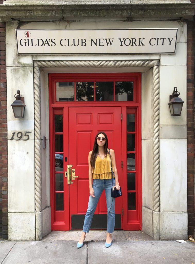Yellow top red door front