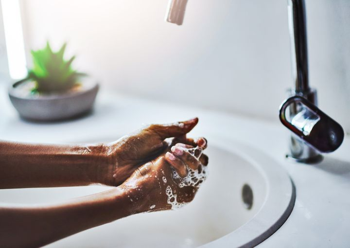 When washing your hands, scrub for at least 20 seconds with warm, soapy water. Don't miss your thumbs, fingertips, and in between fingers. Then dry your hands off.