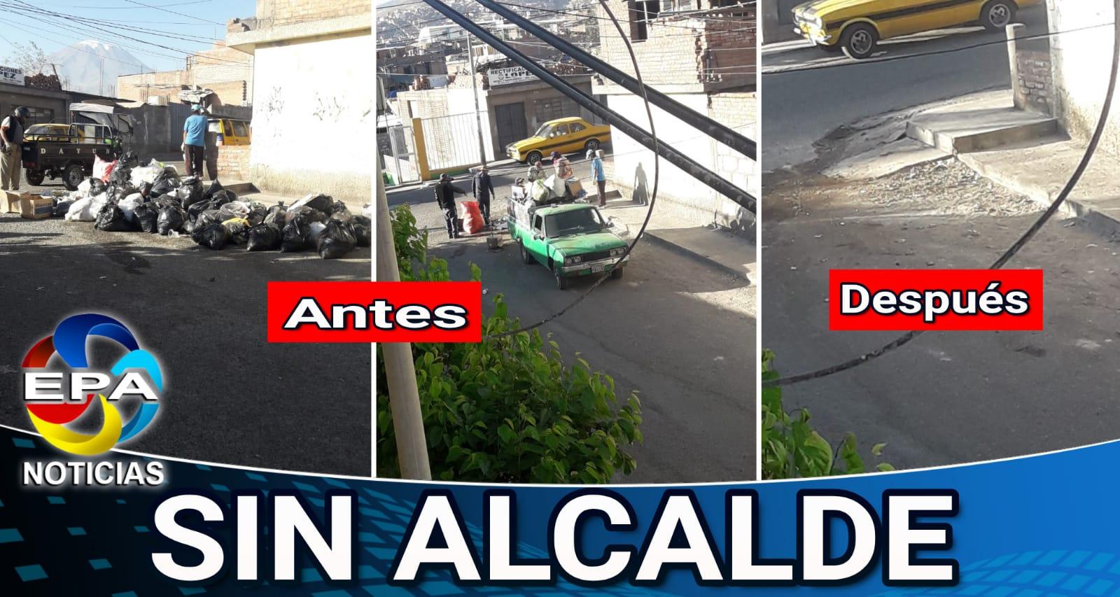 Arequipa Vecinos contrataron camioneta para que se lleve la basura.}