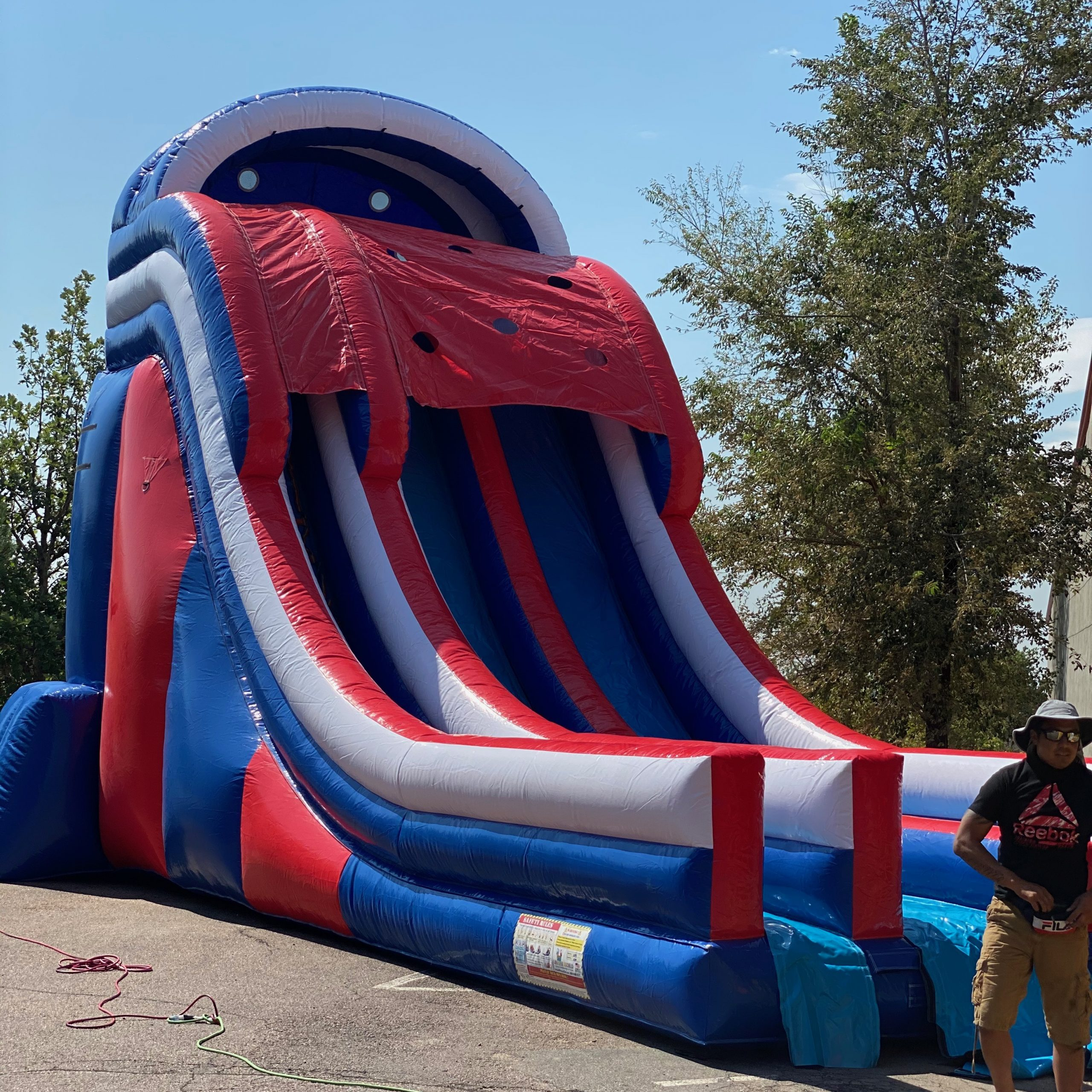 Patriots Double Water Slide and Slip N Slide with Pool TOGETHER
