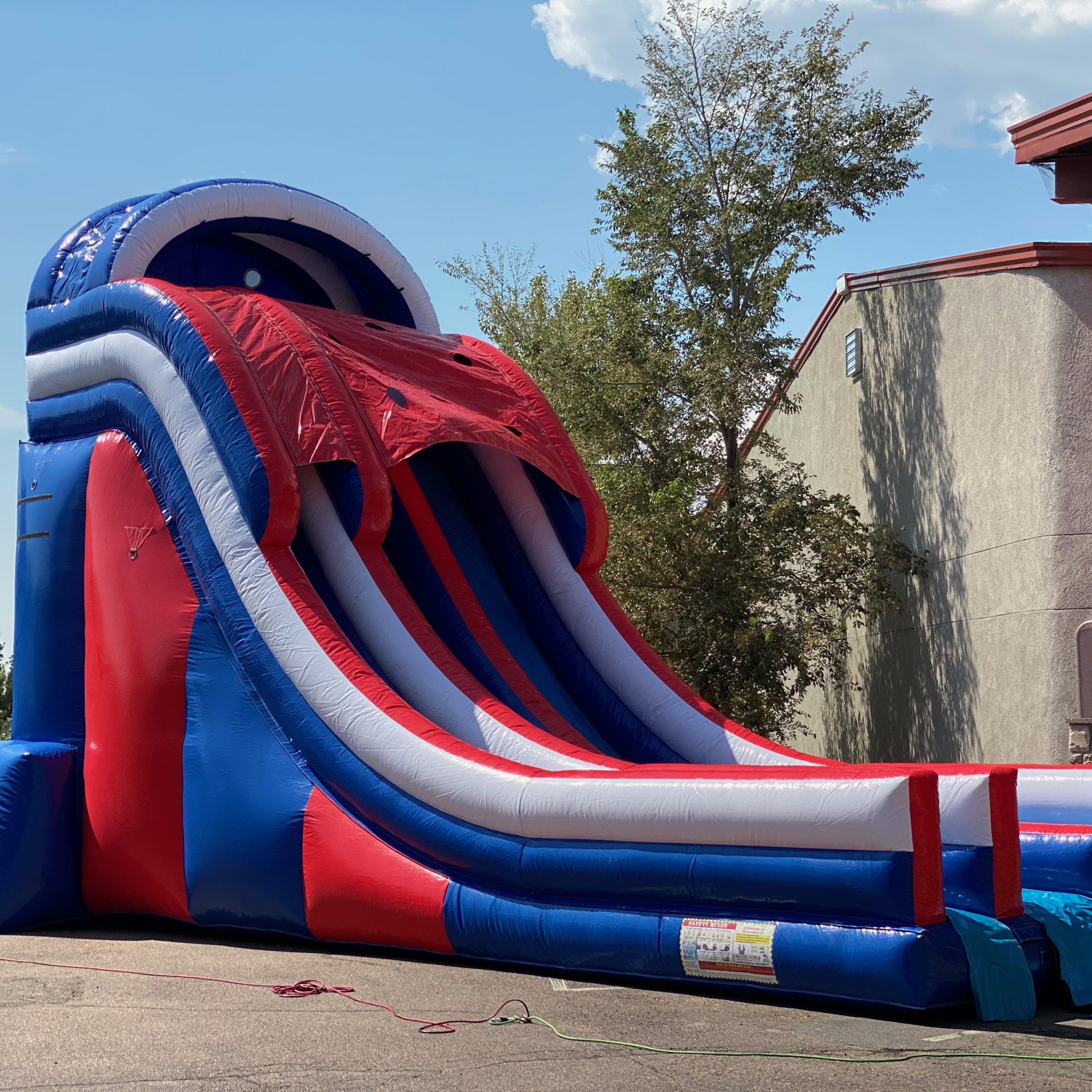 Patriots Double Water Slide with a Pool