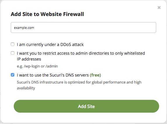Add Site to Website Firewall