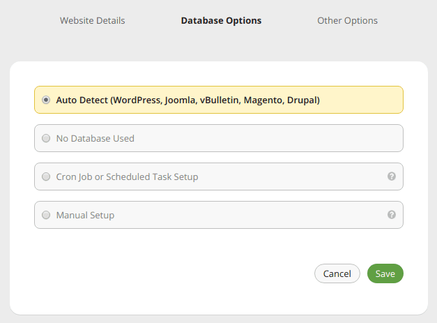 Screenshot database backup settings