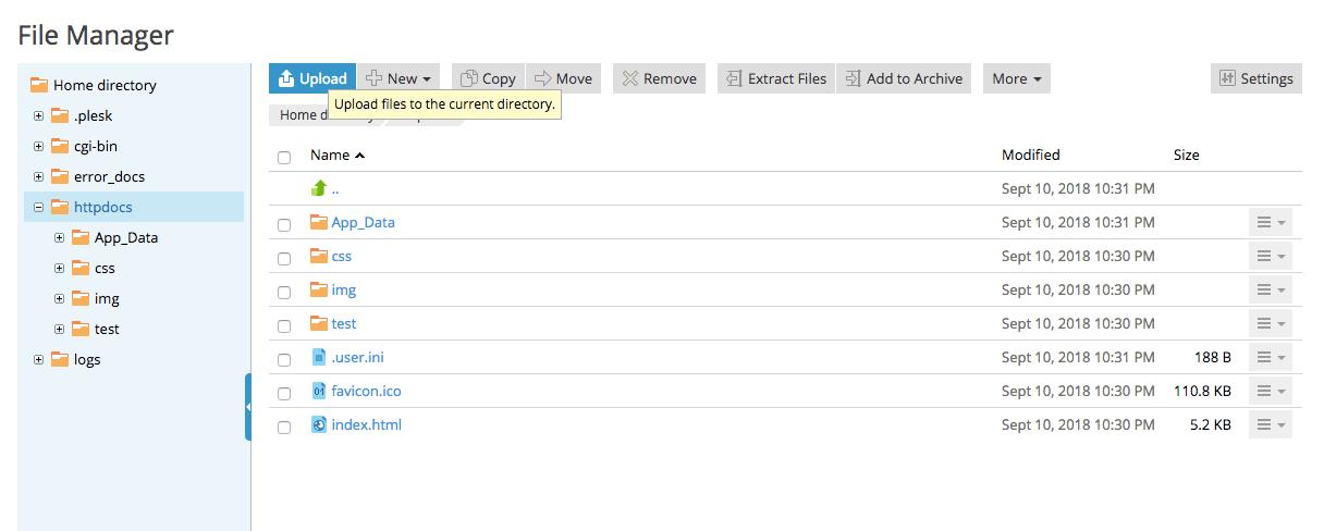 Plesk File Manager