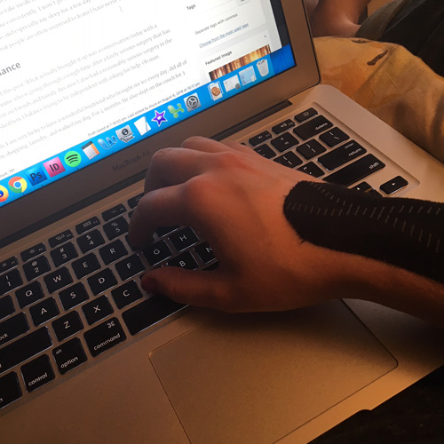 typing with kenisio tape