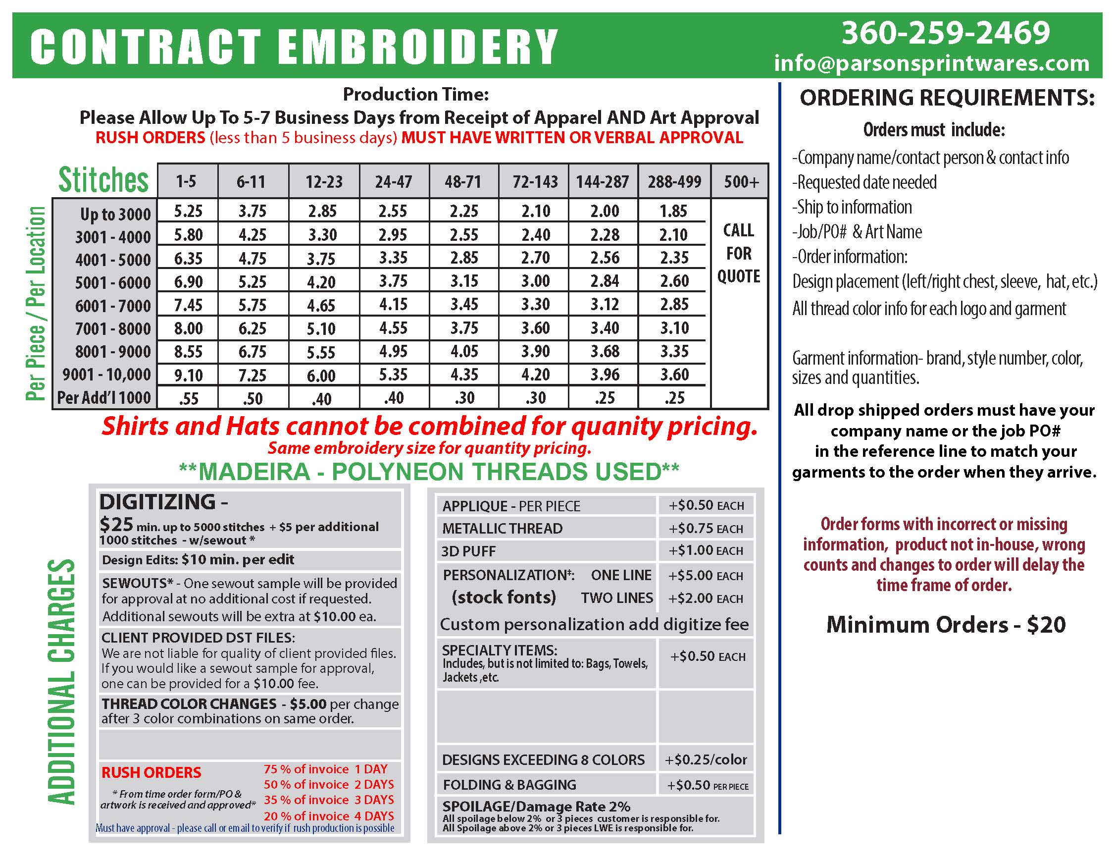 Embroidery Pricing