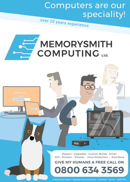 Memorysmith Computing for new PC Business Systems WiFi networking and more call us on 0800 634 3569
