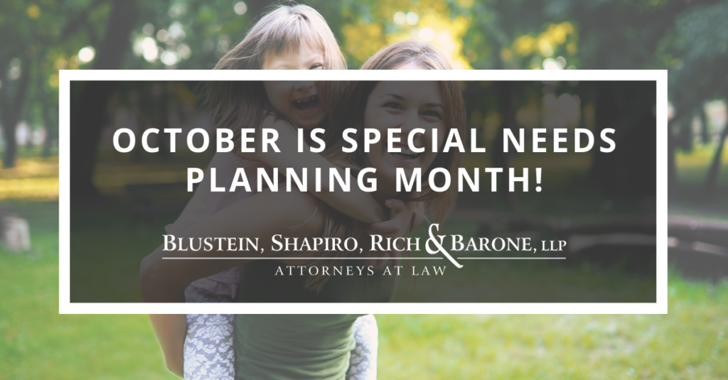 October is Special Needs Planning Month