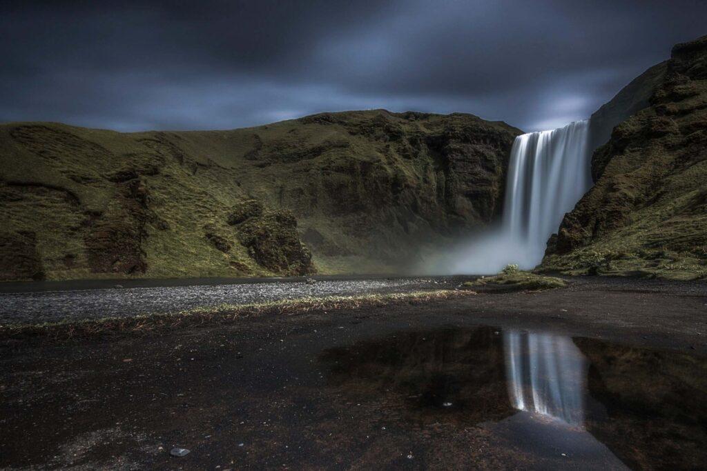 Reflections at Skogafoss Iceland