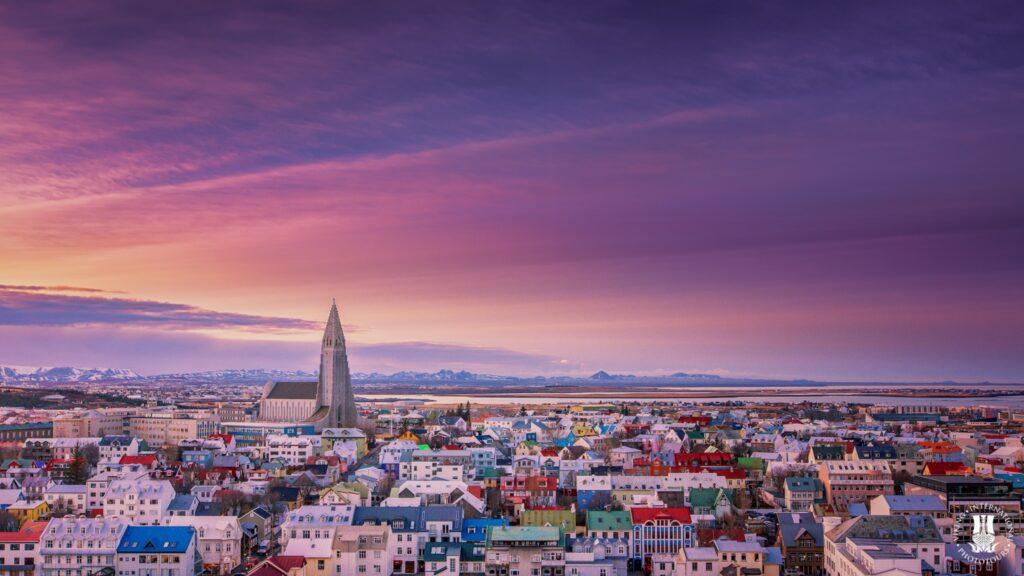 Sunset over Reykjavik Iceland